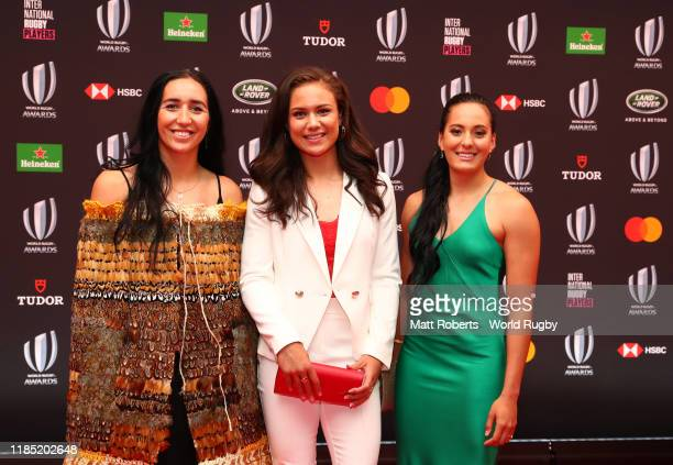 Sarah Hirini Ruby Tui and Tyla Nathan Wong of New Zealand Women Sevens pose for a photo during the World Rugby Awards on November 03 2019 in Tokyo...