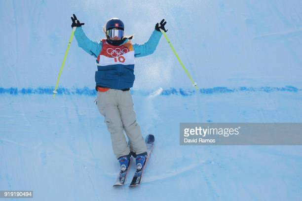 Sarah Hoefflin of Switzerland celebnrates her final run during the Freestyle Skiing Ladies' Ski Slopestyle final on day eight of the PyeongChang 2018...