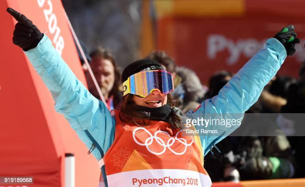 Sarah Hoefflin of Switzerland celebrates after her final run during the Freestyle Skiing Ladies' Ski Slopestyle final on day eight of the PyeongChang...