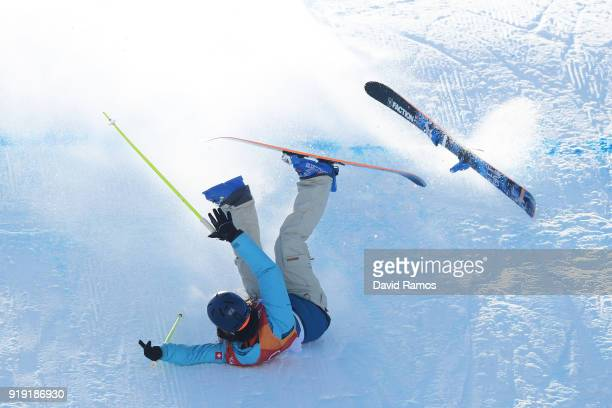 Sarah Hoefflin of Switzerland crashes during the Freestyle Skiing Ladies' Ski Slopestyle final on day eight of the PyeongChang 2018 Winter Olympic...