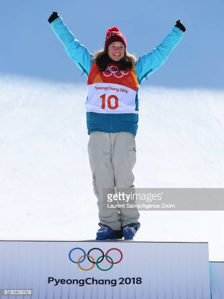 Sarah Hoefflin of Switzerland takes 1st place during the Freestyle Skiing Women's Finals Ski Slopestyle at Pheonix Snow Park on February 17 2018 in...