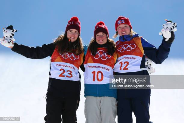 Sarah Hoefflin of Switzerland takes 1st place Mathilde Gremaud of Switzerland takes 2nd place Isabel Atkin of Great Britain takes 3rd place during...
