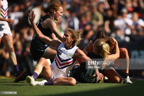 Sarah Hosking of the Blues celebrates after kicking a goal during the AFLW Preliminary Final match between the Carlton Blues and the Fremantle...