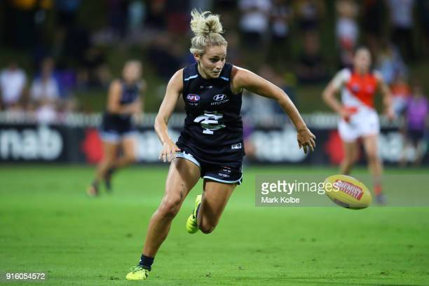 Sarah Hosking of the Blues runs for the ball during the round 20 AFLW match between the Greater Western Sydney Giants and the Carlton Blues at...