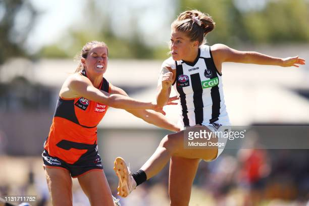 Sarah Howe of the Magpies kicks the ball during the AFLW Rd 4 match between Collingwood and GWS at Morwekk Recreation Reserve on February 24 2019 in...
