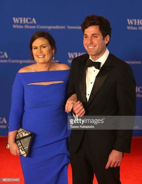 Sarah Huckabee Sanders and Bryan Sanders attend the 2018 White House Correspondents' Dinner at Washington Hilton on April 28 2018 in Washington DC