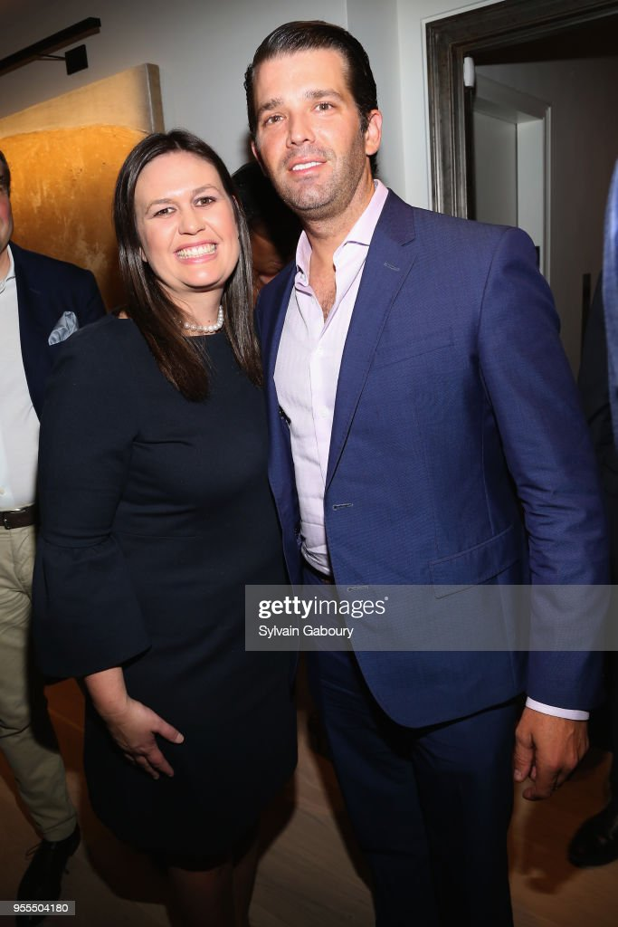 Sarah Huckabee Sanders and Donald Trump Jr. attend Ambassador Grenell Goodbye Bash on May 6, 2018 in New York City.