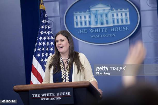Sarah Huckabee Sanders deputy White House press secretary speaks during a White House press briefing in Washington DC US on Wednesday May 10 2017 The...