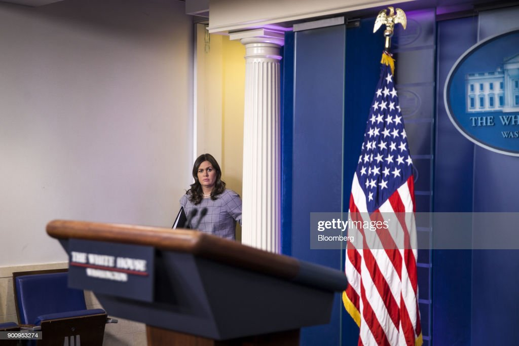 Sarah Huckabee Sanders, White House press secretary, arrives to a White House press briefing in Washington, D.C., U.S., on Wednesday, Jan. 3, 2018. President Donald Trump denounced his former top strategist, Steve Bannon, on Wednesday in a dramatic break from the man considered an architect of Trump's populist campaign. Photographer: Al Drago/Bloomberg via Getty Images
