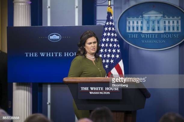 Sarah Huckabee Sanders White House press secretary arrives to speak during a White House press briefing in Washington DC US on Thursday Nov 30 2017...