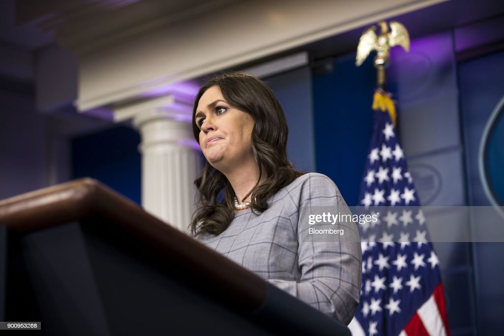 Sarah Huckabee Sanders, White House press secretary, pauses while speaking during a White House press briefing in Washington, D.C., U.S., on Wednesday, Jan. 3, 2018. President Donald Trump denounced his former top strategist, Steve Bannon, on Wednesday in a dramatic break from the man considered an architect of Trump's populist campaign. Photographer: Al Drago/Bloomberg via Getty Images