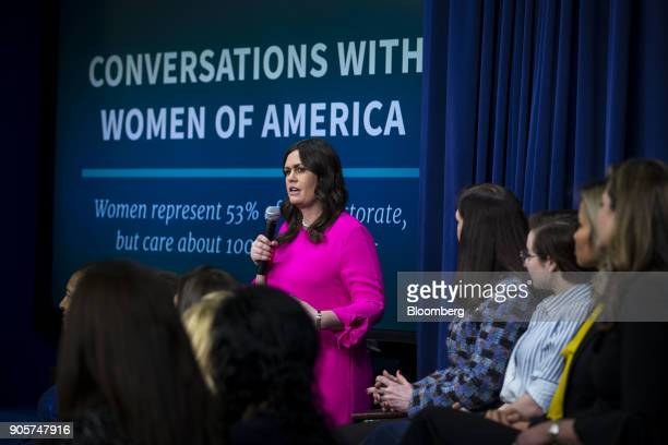 Sarah Huckabee Sanders White House press secretary speaks during a 'Conversations with the Women of America' event at the Eisenhower Executive Office...