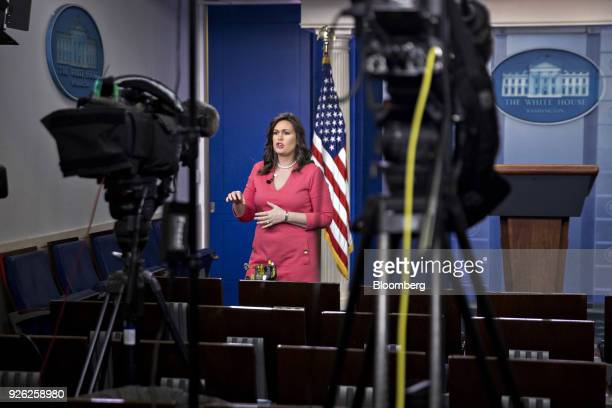 Sarah Huckabee Sanders White House press secretary speaks during a television interview at the White House briefing room in Washington DC US on...