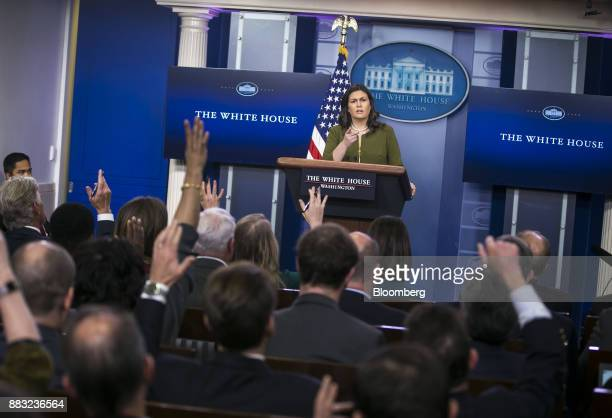 Sarah Huckabee Sanders White House press secretary takes a question during a White House press briefing in Washington DC US on Thursday Nov 30 2017...