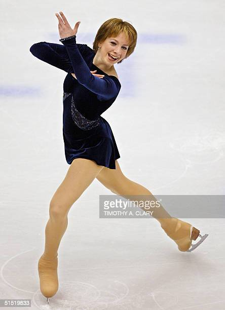 Sarah Hughes of the US performs her woman short program at the Olympic Ice Center 19 February 2002 during the XIXth Winter Olympics in Salt Lake City...