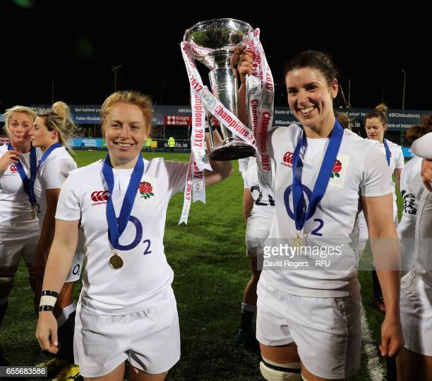 Sarah Hunter and La Toya Mason of England celebrate their victory during the Womens Six Nations match between Ireland Women v England Women at...
