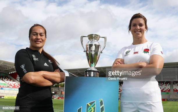 Sarah Hunter captain of England and Fiao'o Faamausili captain of the New Zealand Black Ferns pose with the Women's Rugby World Cup prior to...