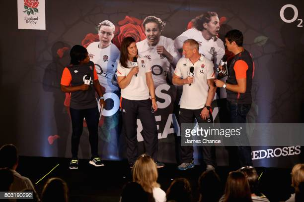 Sarah Hunter captain of England Women's Rugby speks to Vernon Kay during England Women's Rugby World Cup Squad Announcement at Twickenham Stadium on...