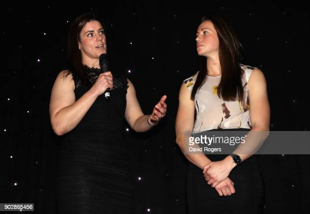 Sarah Hunter captain of England women's rugby team with team mate Emily Scarratt talk to the audience during the Rugby Union Writers' Club Annual...