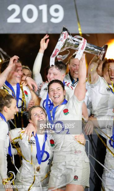 Sarah Hunter of England and Marlie Packer of England at Twickenham Stadium on March 16 2019 in London England