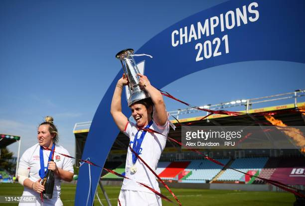 Sarah Hunter of England celebrates with the Six Nations trophy after victory in the Women's Six Nations match between England and France at The Stoop...