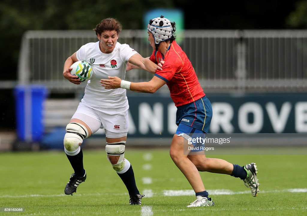 Sarah Hunter of England is tackled by Elena Redondo of Spain during the Women's Rugby World Cup 2017 match between England and Spain on August 9, 2017 in Dublin, Ireland.