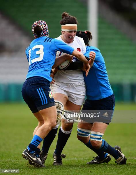 Sarah Hunter of England is tackled by Michela Sillari and Alice Trevisan of Italy during the RBS Womens Six Nations match between England and Italy...