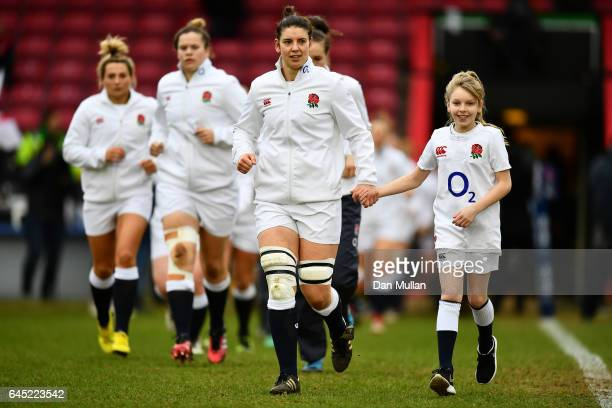 Sarah Hunter of England leads out her team during the RBS Womens Six Nations match between England and Italy at Twickenham Stoop on February 25 2017...