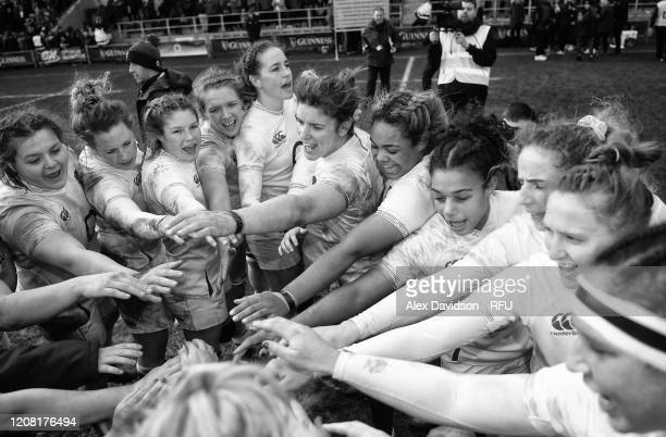 Sarah Hunter of England leads the huddle following the the Women's Six Nations match between England and Ireland at Castle Park on February 23, 2020...