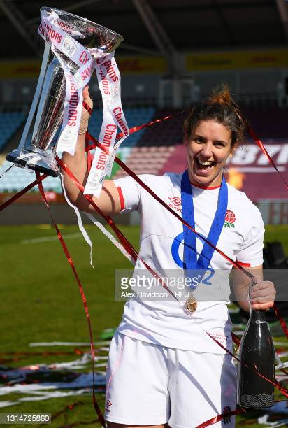 Sarah Hunter of England poses with the trophy after victory in the Women's Six Nations match between England and France at The Stoop on April 24,...