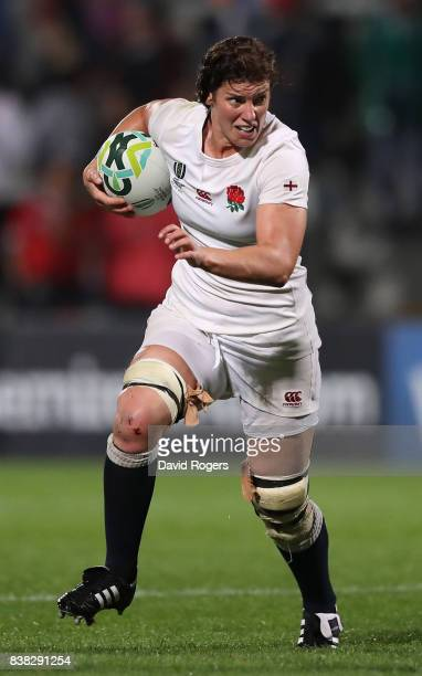 Sarah Hunter of England runs with the ball during the Women's Rugby World Cup 2017 semi final match between England and France at the Kingspan...
