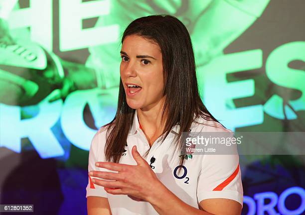 Sarah Hunter of England talks during an England Women's Rugby media announcement at Twickenham Stadium on October 5 2016 in London England