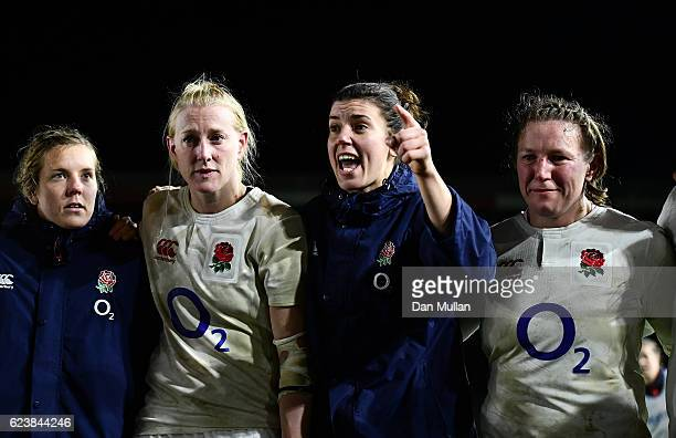 Sarah Hunter of England talks to her team mates following victory during the Old Mutual Wealth Series match between England Women and France Women at...