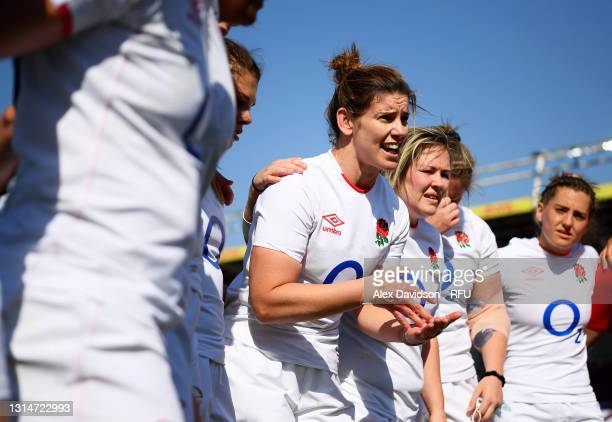 Sarah Hunter of England talks to her teammates after victory in the Women's Six Nations match between England and France at The Stoop on April 24,...