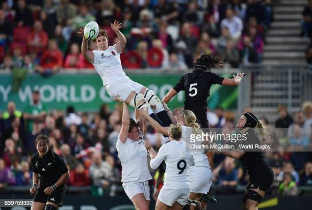 Sarah Hunter of England wins a lineout during the Women's Rugby World Cup 2017 Final between England and New Zealand at Kingspan Stadium on August 26...