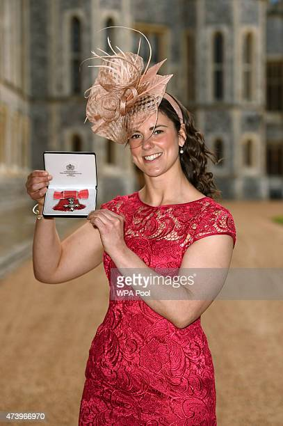 Sarah Hunter with her MBE for services to rugby at an investiture ceremony at Windsor Castle May 19 2015 in Windsor England