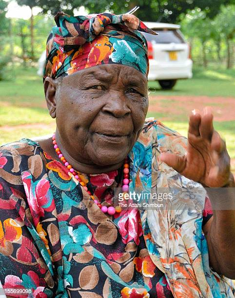 Sarah Hussein Obama grandmother of US president Barak Obama speaks to the Asahi Shimbun on November 6 2012 in Kogelo Kenya All the villagers pay...