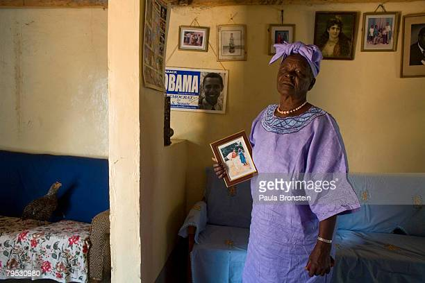 Sarah Hussein Obama the grandmother of US Presidential candidate Barak Obama holds a photo of her grandson as she awaits the results of Super...