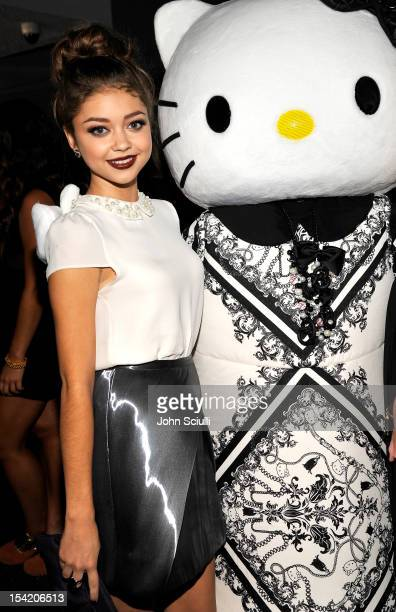 Sarah Hyland and Hello Kitty attend the NYLON Magazine, Forever 21, and Sanrio celebration of the OCTOBER IT issue and launch of Hello Kitty Forever...