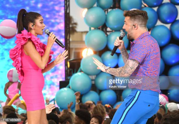 Sarah Hyland and Jordan McGraw perform onstage during FOX's Teen Choice Awards 2019 on August 11 2019 in Hermosa Beach California