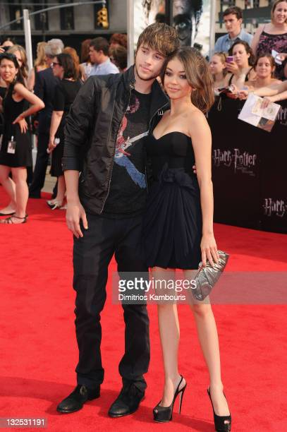 Sarah Hyland and Matt Prokop attend the premiere of ''Harry Potter and the Deathly Hallows Part 2'' at Avery Fisher Hall Lincoln Center on July 11...