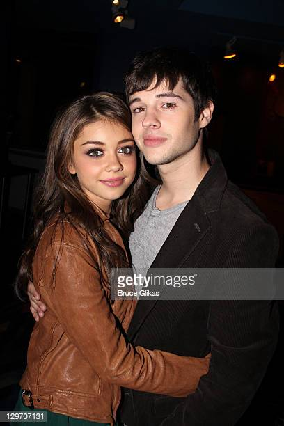 Sarah Hyland and Matt Prokop promote Disney's 'Geek Chaming' as they visit Planet Hollywood Times Square on October 19, 2011 in New York City.