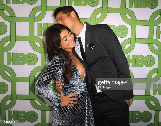 Sarah Hyland and Wells Adams attend HBO's Official 2019 Golden Globe Awards After Party on January 6 2019 in Los Angeles California