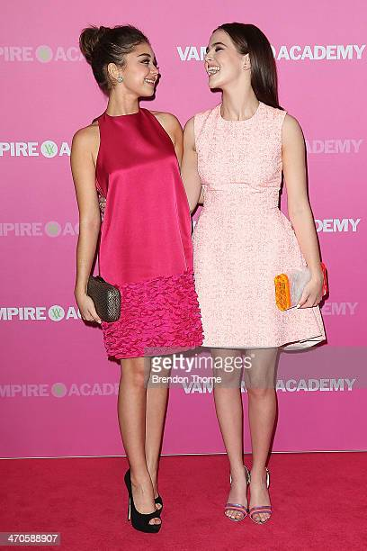 Sarah Hyland and Zoey Deutch arrive at the 'Vampire Academy' premiere at Event Cinemas George Street on February 20 2014 in Sydney Australia