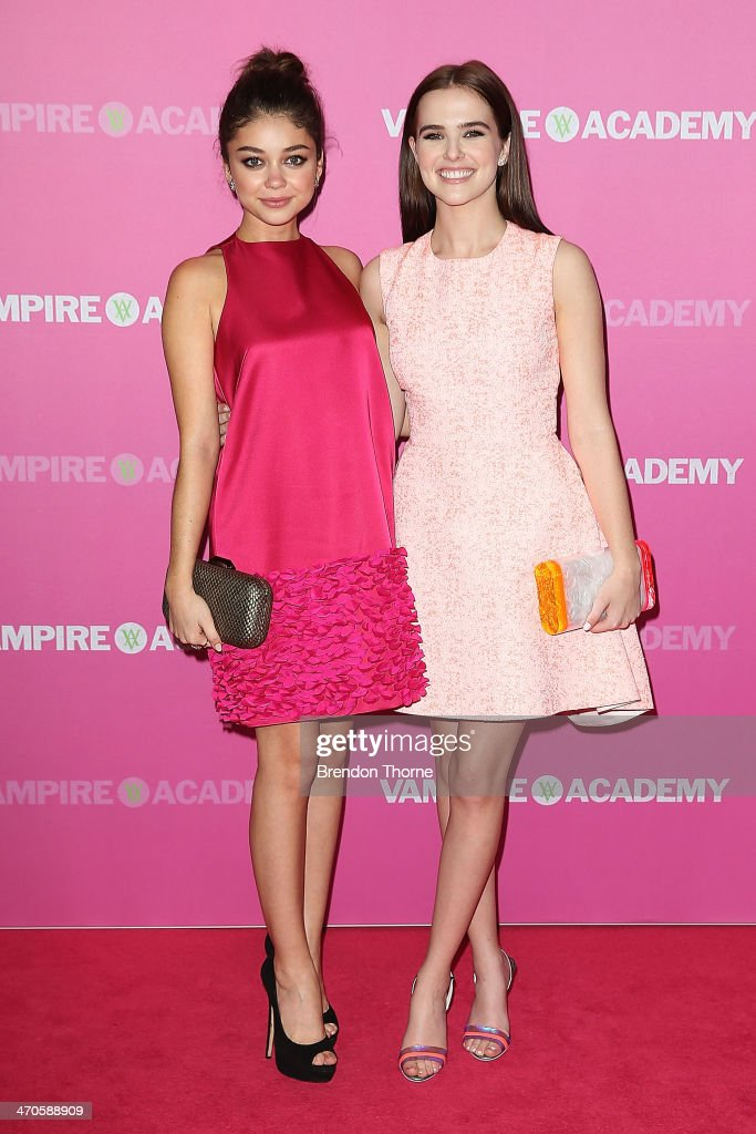 Sarah Hyland and Zoey Deutch arrive at the 'Vampire Academy' premiere at Event Cinemas George Street on February 20, 2014 in Sydney, Australia.
