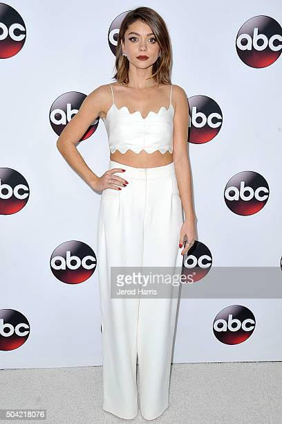 Sarah Hyland arrives at the Disney/ABC 2016 Winter TCA Tour at the Langham Hotel on January 9 2016 in Pasadena California