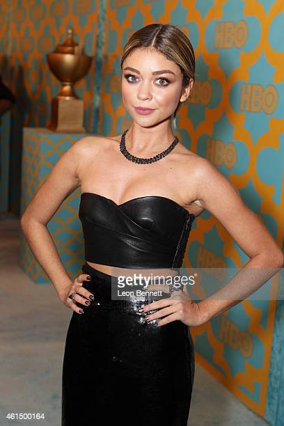 Sarah Hyland arrives at the HBO'S Post Golden Globe Party at The Beverly Hilton Hotel on January 11, 2015 in Beverly Hills, California.