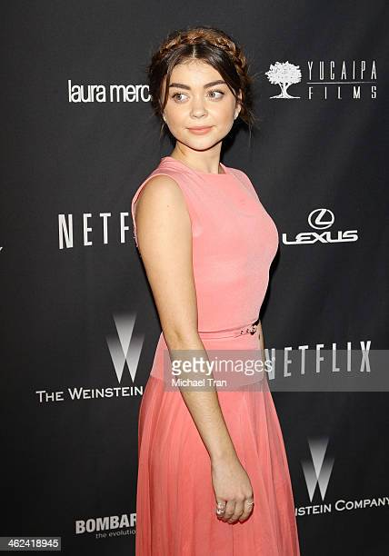 Sarah Hyland arrives at The Weinstein Company and NetFlix 2014 Golden Globe Awards after party held on January 12 2014 in Beverly Hills California