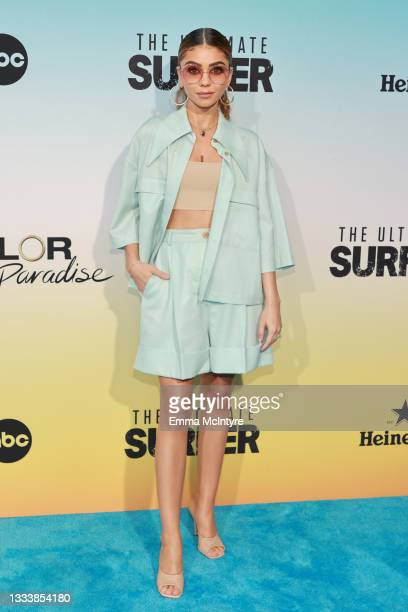 """Sarah Hyland attends ABC's """"Bachelor In Paradise"""" And """"The Ultimate Surfer"""" Premiere at Fairmont Miramar - Hotel & Bungalows on August 12, 2021 in..."""