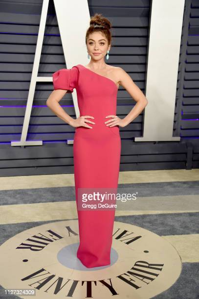 Sarah Hyland attends the 2019 Vanity Fair Oscar Party hosted by Radhika Jones at Wallis Annenberg Center for the Performing Arts on February 24 2019...